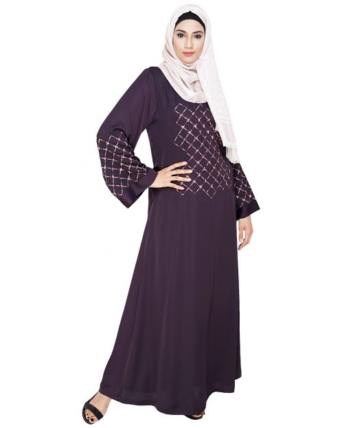 Resham Adorned Dark Purple Dubai Style Abaya