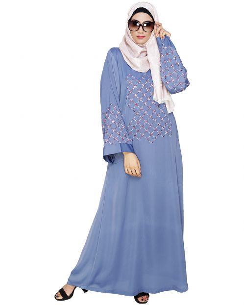 Resham Adorned Steel Blue Dubai Style Abaya