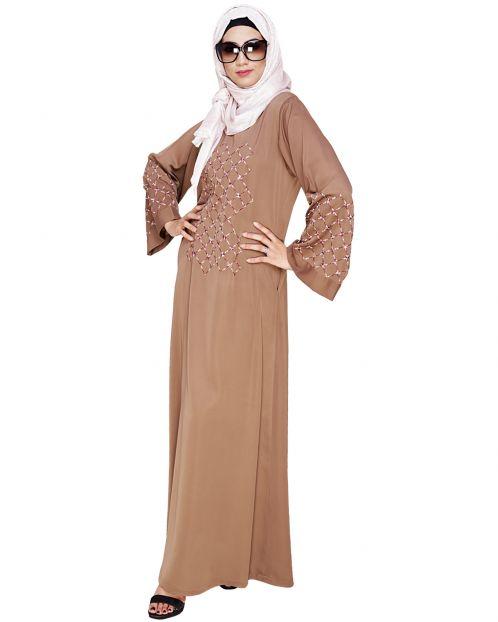 Resham Adorned Dark Beige Dubai Style Abaya
