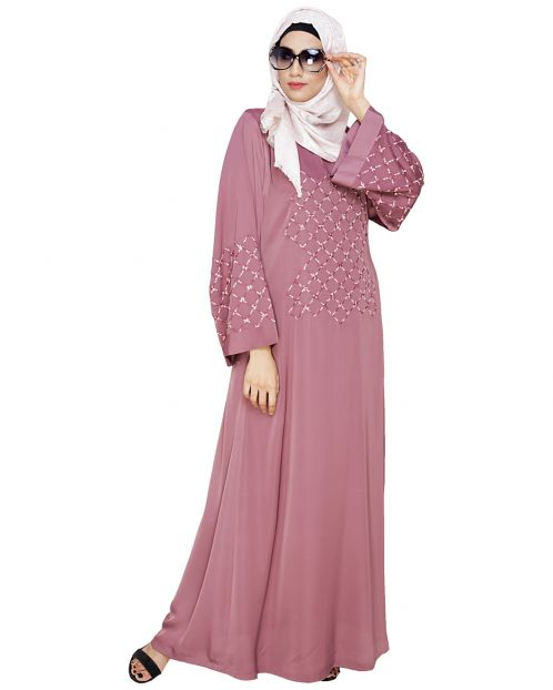 Resham Adorned Onion Pink Dubai Style Abaya