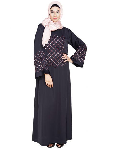 Resham Adorned Dark Grey Dubai Style Abaya