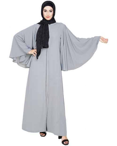 Angel Sleeves Grey Dubai Style Abaya