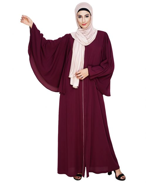 Angel Sleeves Purple Abaya