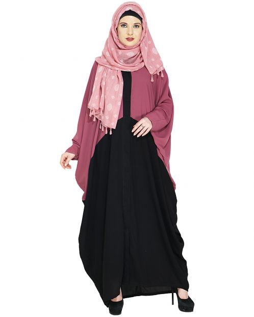 Trendy Onion Pink and Black Kaftan