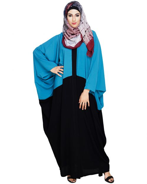 Spiffy Teal Blue and Black Kaftan