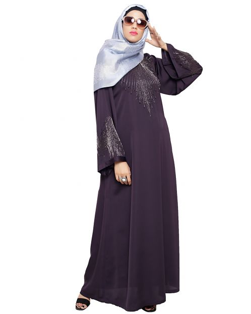 Ornate Dark Purple Dubai Style Abaya