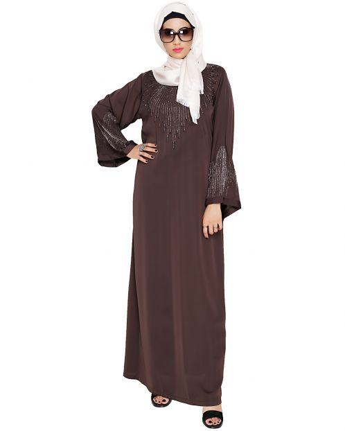 Ornate Dark Brown Dubai Style Abaya
