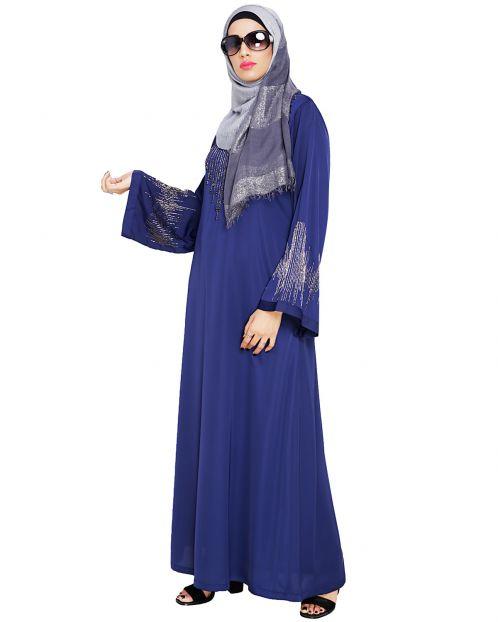 Ornate Blue Dubai Style Abaya