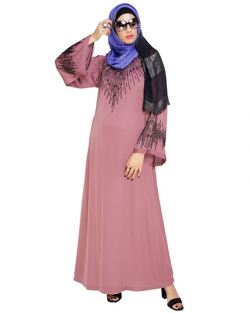 Ornate Onion Pink Dubai Style Abaya