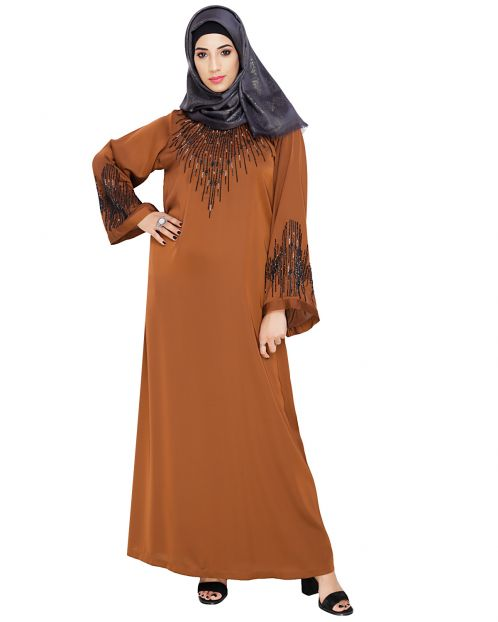 Ornate Brown Dubai Style Abaya