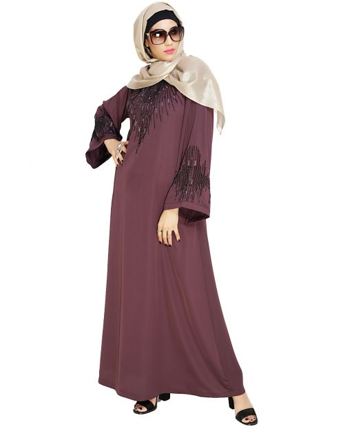Ornate Purple Dubai Style Abaya