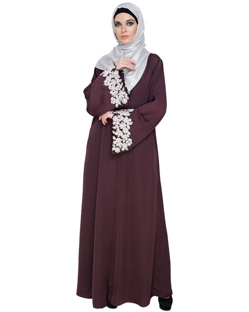 Dreamy Pearl Tyrian Purple Dubai Style Abaya