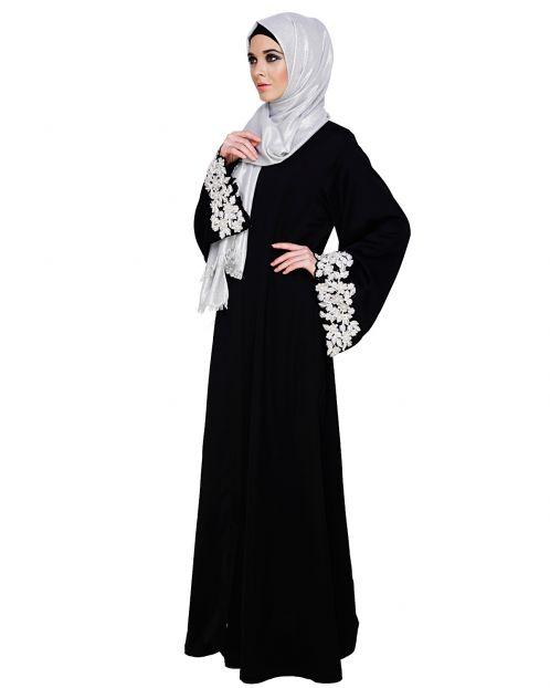 Dreamy Pearl Black Dubai Style Abaya
