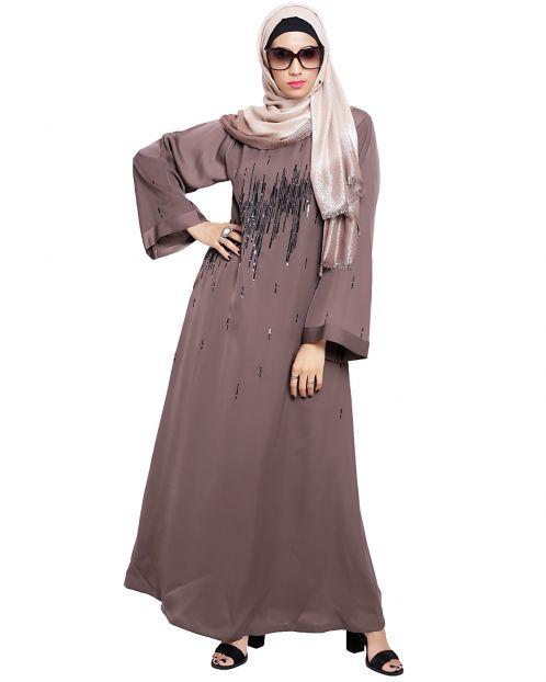 Stardust Umber Brown Dubai Style Abaya