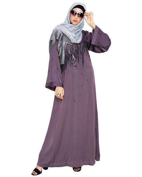 Stardust Purple Dubai Style Abaya