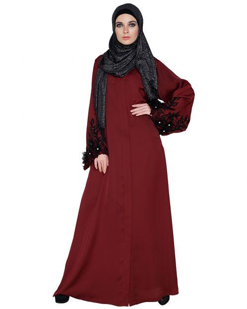 Regal Burgundy Colour Dubai style Abaya