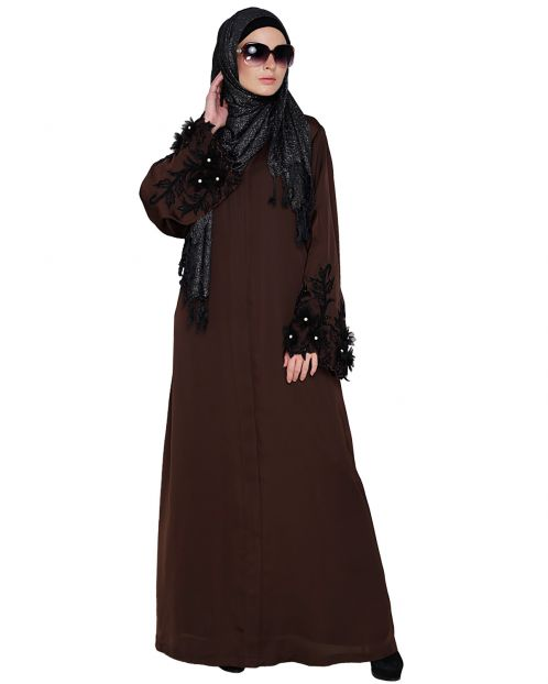 Regal Redwood Colour Dubai style Abaya