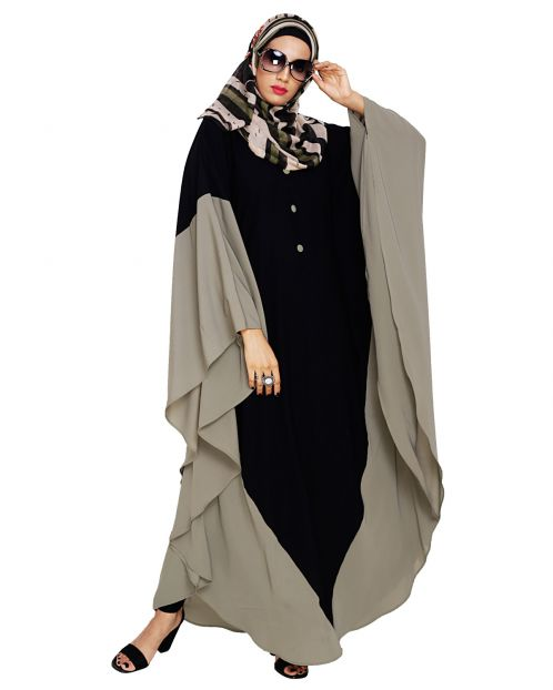 Aesthetic Black and Dead Mint Kaftan