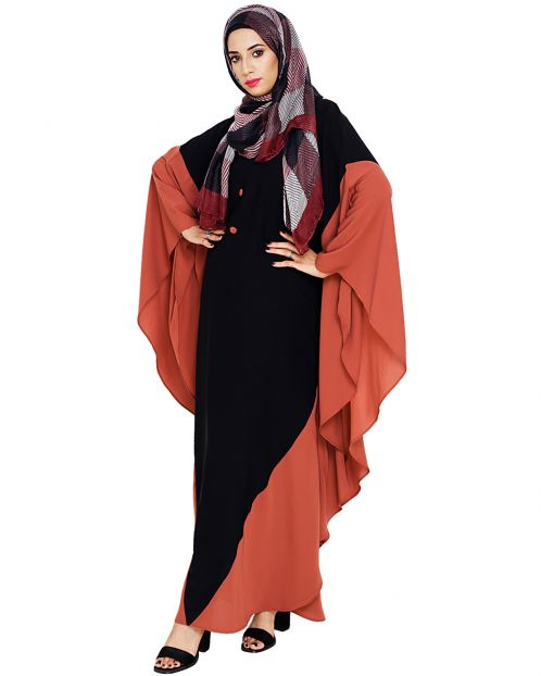Aesthetic Black and Brick Red Kaftan