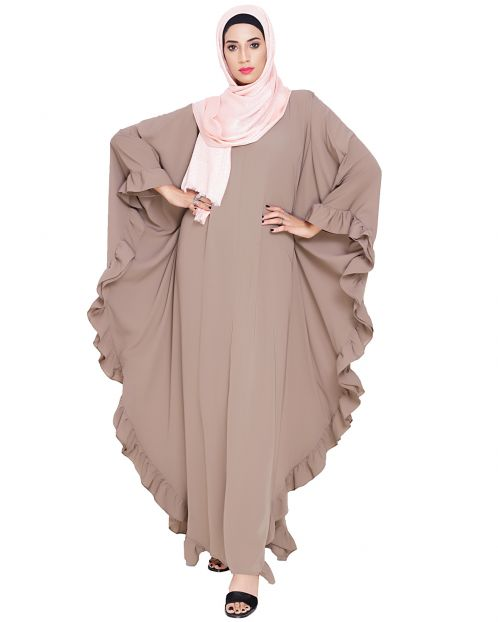 Ruffled Ash Brown Kaftan