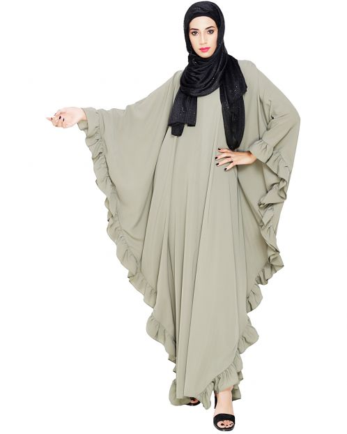 Ruffled Dead Mint Kaftan