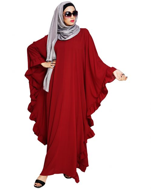 Ruffled Wine Kaftan