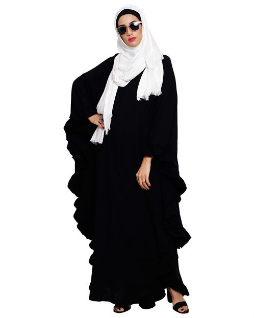 Ruffled Black Kaftan