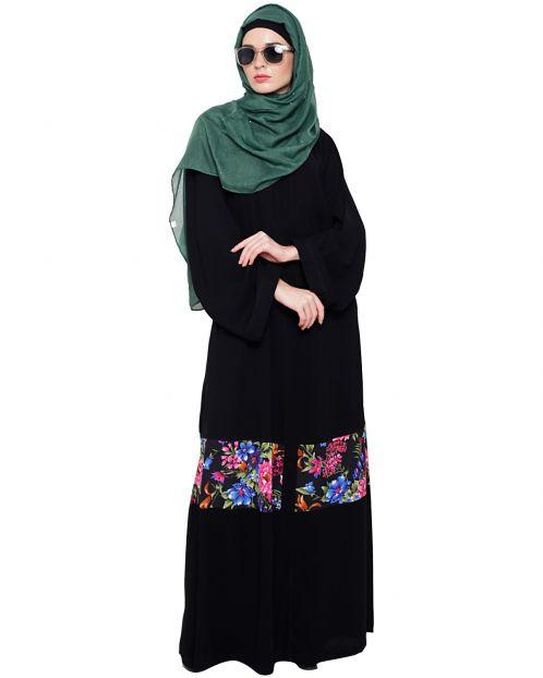 Elegant Black Print Dubai Style Abaya