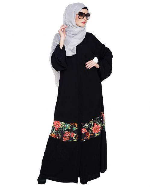 Elegant Black Printed Dubai Style Abaaya