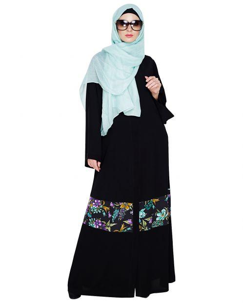 Elegant Black Printed Saudi Style Abaya
