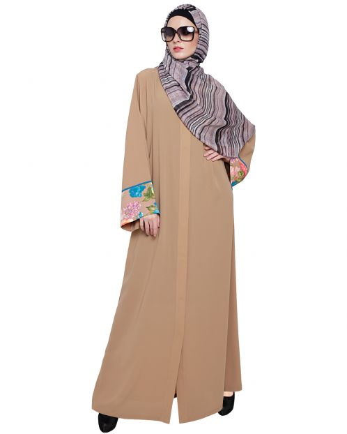 Graceful Beige Printed Dubai Style Abaya