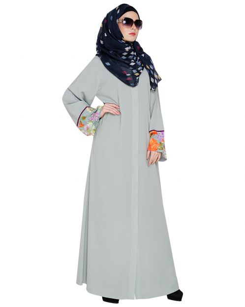 Graceful Sage Green Printed Dubai Style Abaya