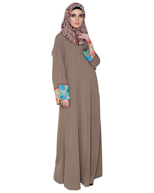 Graceful Ash Brown Printed Dubai Style Abaya