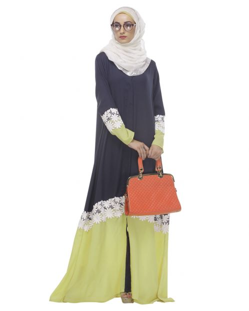 Navy Blue - Yellow Floral Trim Abaya