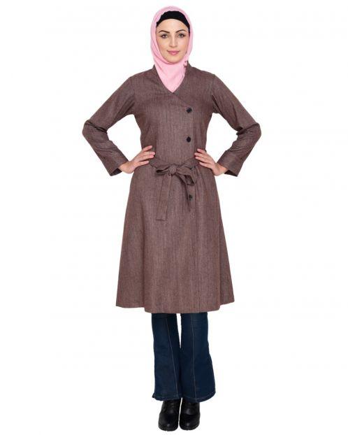 Brwon Overlap Belted Coat