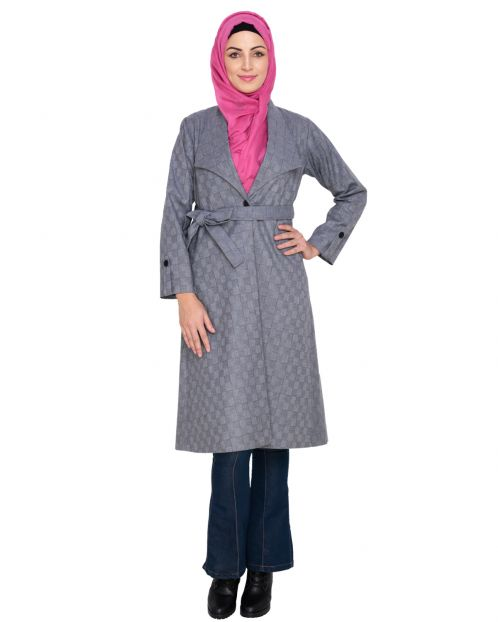 Grey Shalw Collar Single Button coat