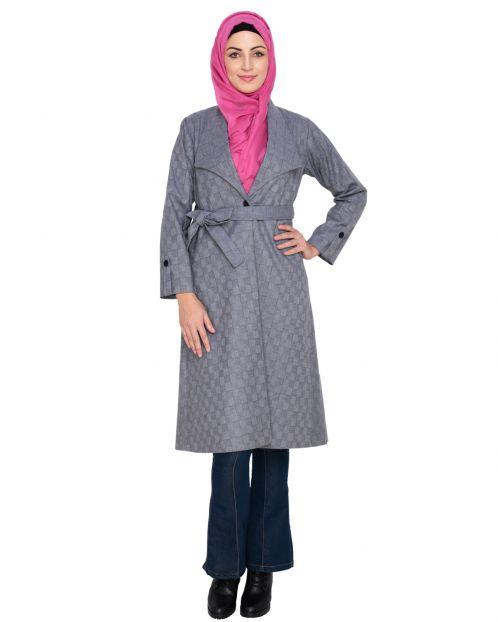 Grey Shalw Collar Single Button coat
