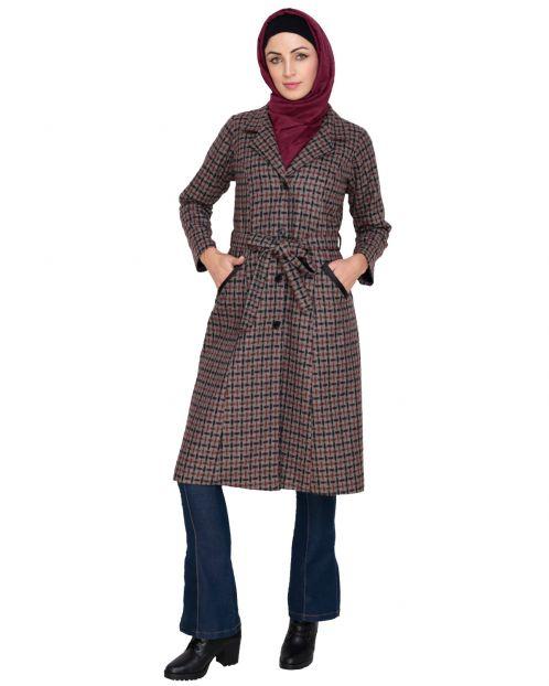 Brown Notch Lapel panel Coat