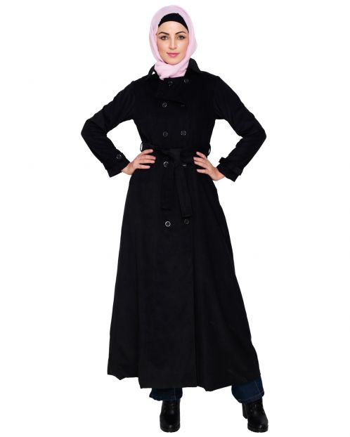 Black Shirt Collar Double Breasted Coat