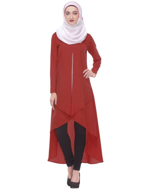 Red High-Low Pleated Tunic
