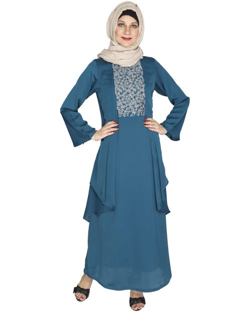 Newfangled Dark Teal Abaya