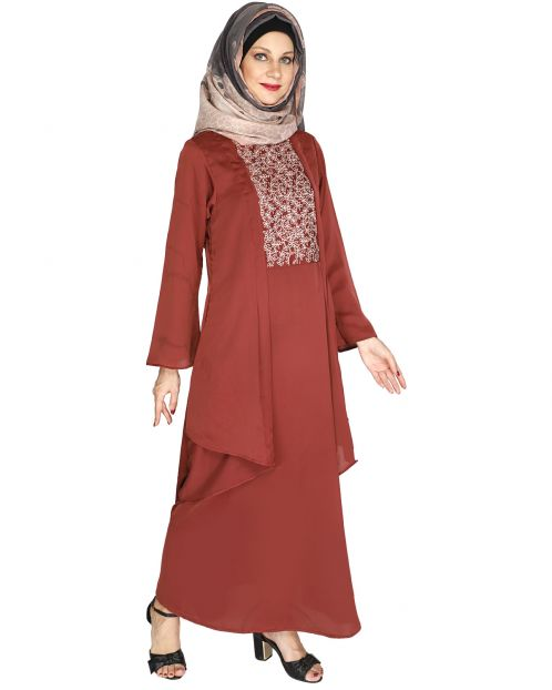 Newfangled Brick Red Abaya