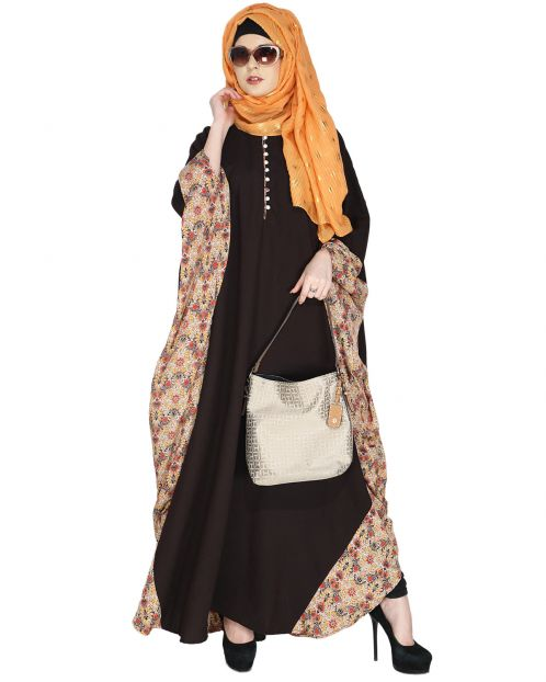 Floret Printed Dark Brown Kaftan