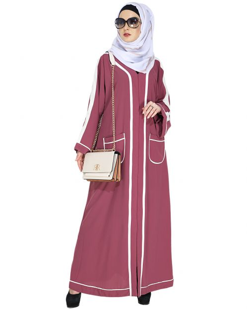 Pocket Dubai Style Abaya with White Detailing