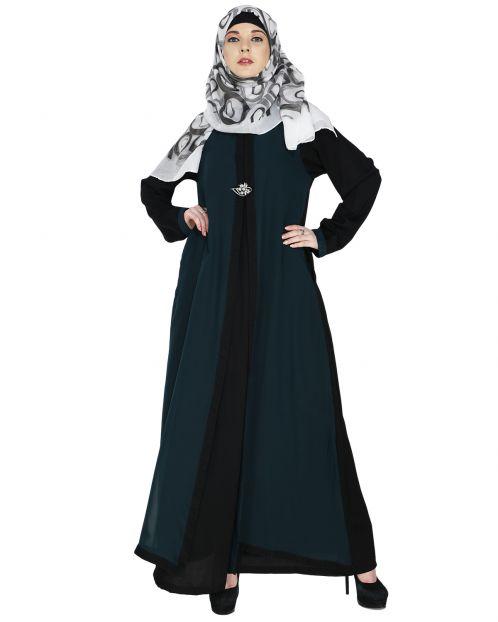 Layered Sacramento Green Maxi Dress Abaya