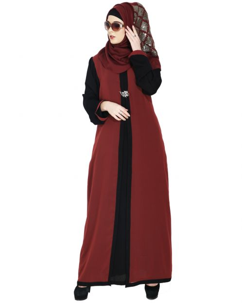 Layered Brick Red Maxi Dress Abaya