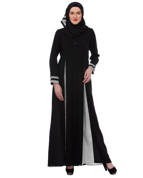 Slit panelled Black & Grey Abaya