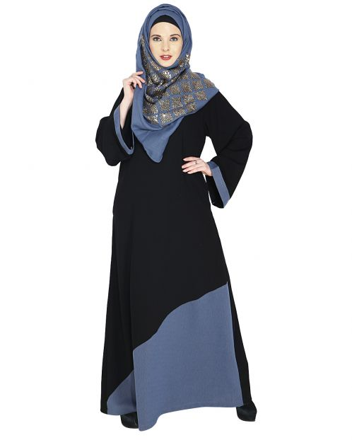 Casual Steel Blue Highlighted Abaya