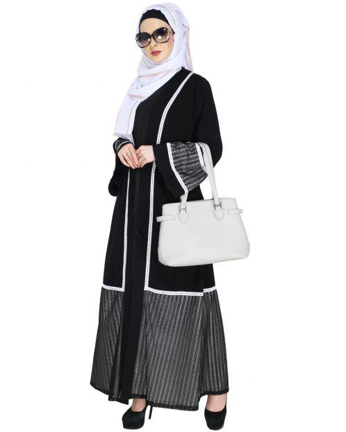 Designer Black Lace Abaya