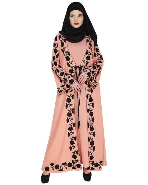 Opulent Peach Abaya with Extravagant Embroidery